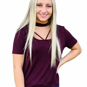 Charlotte Russe Choker Cut Out Top Burgundy Small
